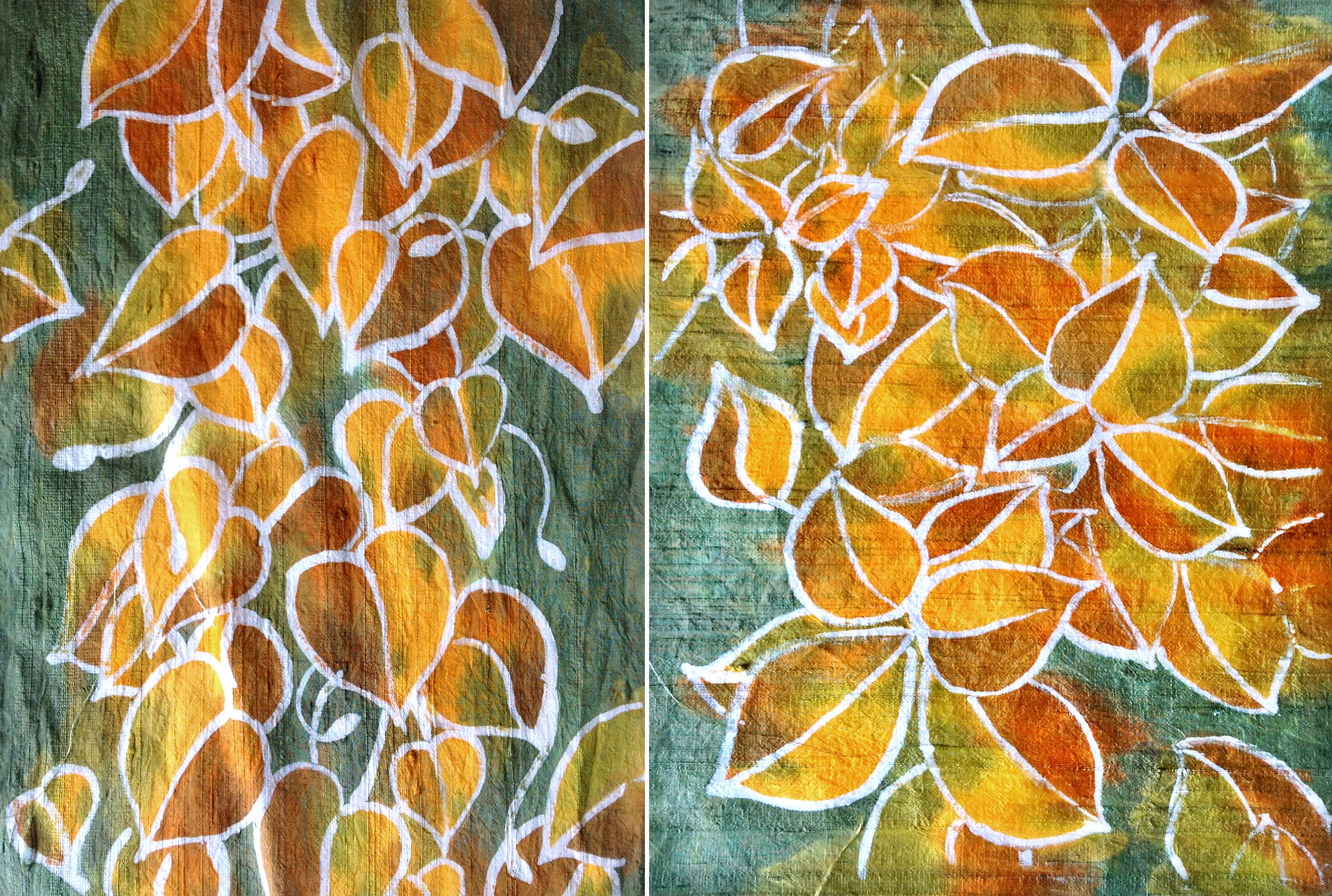 Finished batik quilt panels - morning glory leaves at left and ...